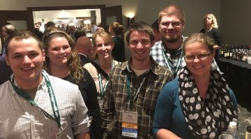 Karin Bothwell (third from the left) and Erin Schlager (Right) with other students at the Society of American Foresters national convention