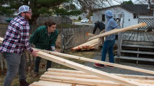 students habitat for humanity lumber wood
