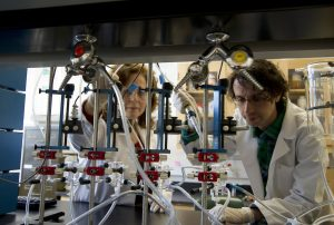 Dorothy Klimis-Zacas and Stefano Vendrame working in a laborartory
